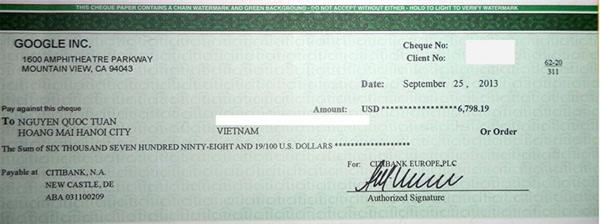 Kết quả của việc Kiếm tiền trên mạng là tấm Séc mà Google Adsense gửi cho mình