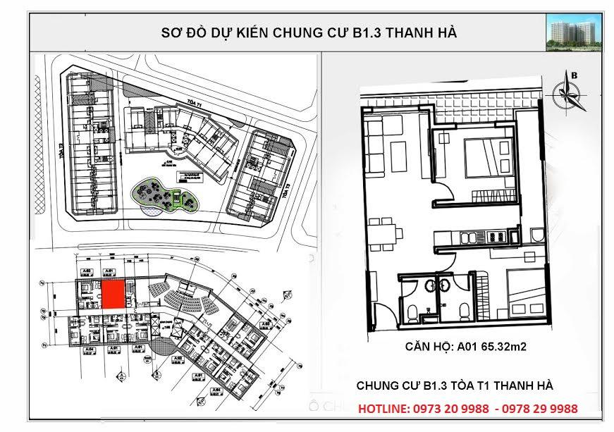 Sơ đồ mặt bằng tòa HH03A chung cư B1.3 Thanh Hà Cienco 5