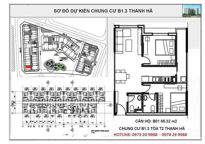 Sơ đồ mặt bằng tòa HH03B chung cư B1.3 Thanh Hà Cienco 5