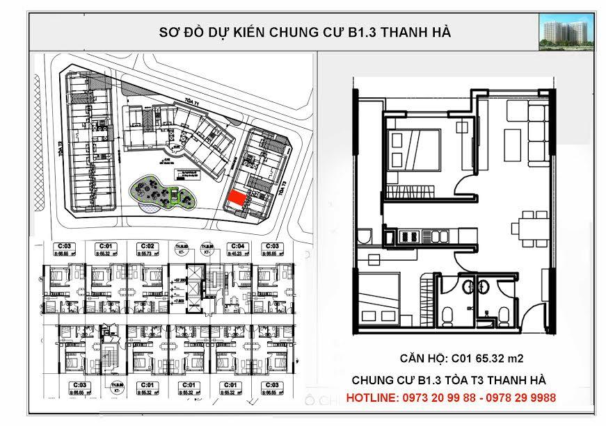 Sơ đồ mặt bằng tòa HH03C chung cư B1.3 Thanh Hà Cienco 5
