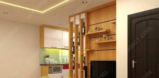 Vách ngăn gỗ phòng khách đẹp