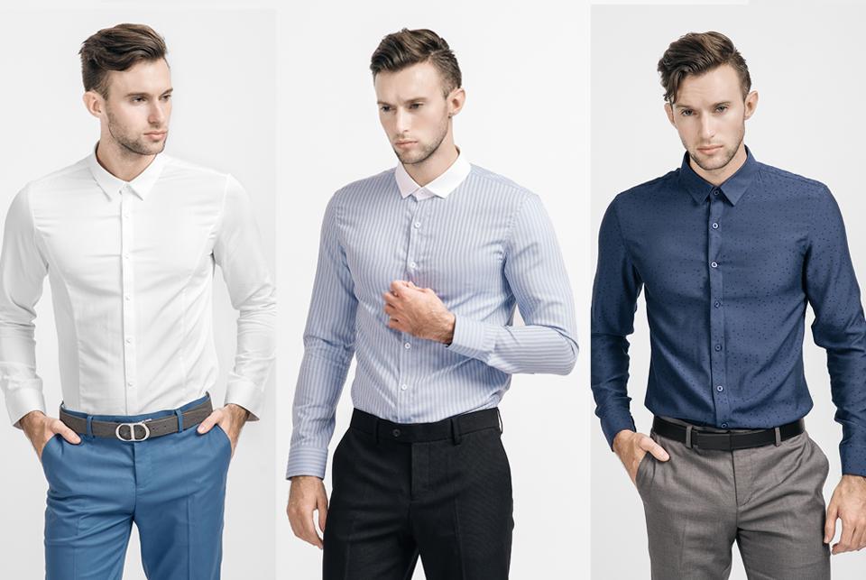 Áo sơ mi đơn giản, ít họa tiết giúp các quý ông có dáng thấp trông cao ráo hơn