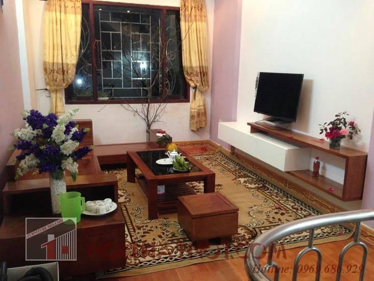 Bộ bàn ghế phòng khách chung cư gỗ xoan hiện đại