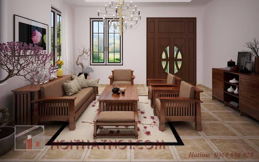Bộ bàn ghế gỗ gụ đẹp thiết kế đơn giản