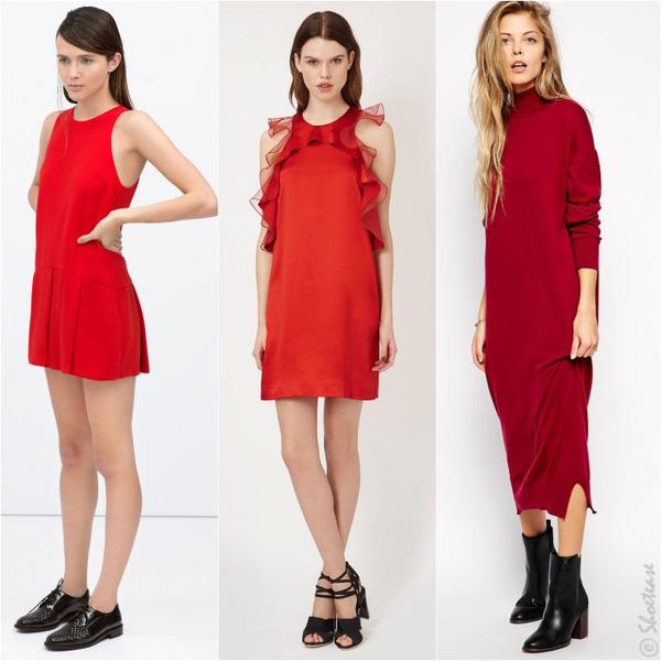 Váy đỏ và giày đen